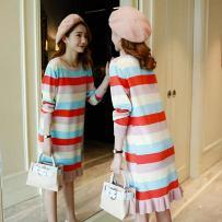 Dress Other 7 Dark green pink blue Average size Korean version Long sleeves Medium length Crew neck Space cotton 001