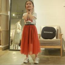 skirt Gouache orange white black 100cm 110cm 120cm 130cm 140cm 150cm Other / other female Polyester 100% No season skirt Versatile Solid color Pleats chemical fiber 01233 Class B