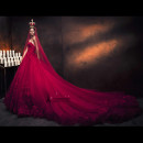 Wedding dress Spring 2017 claret Customized (non refundable) leasing (lead yarn) court Chest type Netting Three dimensional cutting Twenty-seven Nail bead