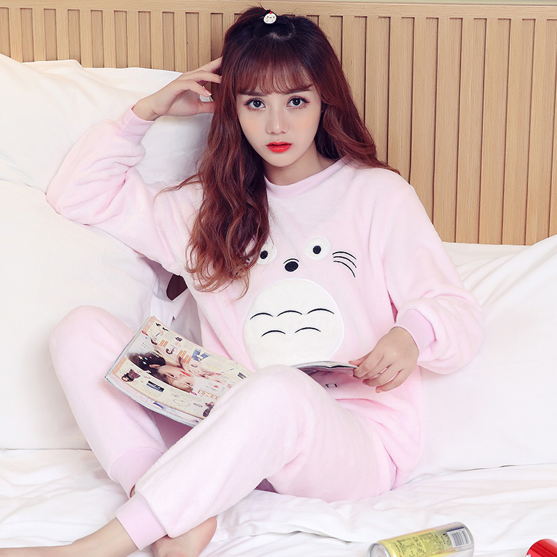 Pajamas / housewear set female Other / other Pay attention to the store and give small gifts YL # chinchilla grey YL # chinchilla Pink Polyester (polyester) Long sleeves Sweet pajamas winter routine Crew neck Cartoon animation trousers Socket youth 2 pieces rubber string More than 95% Embroidery