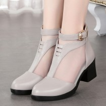 Boots 35 36 37 38 39 40 BEIGE BLACK Mesh Other / other Middle heel (3-5cm) Thick heel Multi material splicing Short tube Round head Two layer pigskin