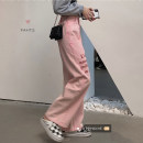 Jeans Autumn 2020 Pink S,M,L trousers High waist Knickerbockers washing 8621#
