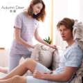 Pajamas / housewear set Light blue (6) red bean paste (38) Lovers Autumn deer MLXLXXLXXXL cotton Leisure home Round neck youth stripe Sleeve summer above 95 Short sleeve Simple Thin section 2 pieces Shorts Rubber band QHFH115 Knitted cotton fabric Summer 2017 100% cotton