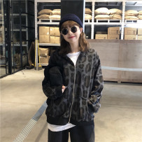Sweater / sweater Autumn of 2018 Gray yellow Average size Long sleeves Cardigan routine singleton  routine Hood easy commute routine Leopard Print 18-24 years old Blue pop Korean version L153662715266837 cotton Other 100% zipper