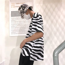 T-shirt Zebra pattern M L Summer of 2018 Short sleeve Crew neck easy routine commute cotton 31% (inclusive) - 50% (inclusive) 18-24 years old Korean version Thin horizontal stripe Other / other printing