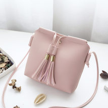 Bag The single shoulder bag PU Tassel bag Other / other Red light gray blue black pink brand new Japan and South Korea Small leisure time soft Belt buckle no Solid color Single root Single shoulder nothing youth Horizontal square tassels Soft handle synthetic leather Mobile phone bag certificate bag