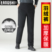 Down pants Lang style Black grey blue XL 2XL 3XL 4XL 5XL Fashion City trousers Wear out More than 90% white duck down leisure time middle age LS-YRK19 Basic public Straight cylinder Solid color Polyamide fiber (nylon) 93% polyurethane elastic fiber (spandex) 7% Waist drawstring Winter of 2019 nylon