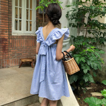 Dress Summer of 2018 Red light blue XXXs pre sale average Short skirt singleton  Sleeveless commute square neck High waist lattice Socket other other Others 18-24 years old Type A Other / other Korean version bow other other
