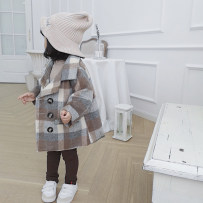 woolen coat Picture color 80cm 90cm 100cm 110cm 120cm 130cm Other / other blending female There are models in the real shooting nothing Korean version routine spring and autumn Single breasted Cotton 95% other 5% lattice Lapel crew neck Apricot plaid coat