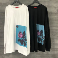 T-shirt Youth fashion White black routine Average size Others Long sleeves Crew neck standard Other leisure Four seasons stripe