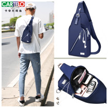 Men's bag Inclined shoulder bag oxford Cartelo / Cartelo crocodile Classic blue chest bag classic black chest bag upgrade blue chest bag upgrade black chest bag black chest bag style 2 brand new leisure time Japan and South Korea zipper soft in yes Solid color Yes Single root youth Vertical square