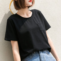 T-shirt White black SML Summer of 2018 Short sleeve Crew neck easy Regular routine commute 18-24 years old Korean version classic Solid color Zizo P8357 pocket Cotton 95% polyurethane elastic fiber (spandex) 5% Pure e-commerce (online only)