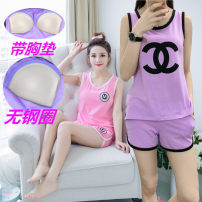 Pajamas / housewear set female Other / other M [body weight 80-100] l [body weight 101-116] XL [body weight 116-130] [collection baby priority delivery] cotton Sleeveless motion Sports Home summer Thin money Crew neck Cartoon animation shorts Socket youth 2 pieces rubber string pure cotton printing