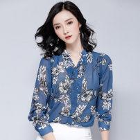 Lace / Chiffon Spring of 2018 blue SMLXLXXL Long sleeves Versatile Socket singleton  easy Regular V-neck Decor shirt sleeve 25-29 years old Gunido