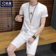 T-shirt Youth fashion [Buddha shorts suit] Tibetan routine 3XL say SD181840TX Cotton 100% Cotton wool Summer of 2018 Pure e-commerce (online only)