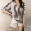 T-shirt Pink light blue dark blue M [85-100 Jin] l [100-120 Jin] XL [120-140 Jin] 2XL [140-160 Jin] 3XL [160-180 Jin] 4XL [180-200 Jin] Summer of 2018 Short sleeve V-neck easy Medium length Bat sleeve commute other 71% (inclusive) - 85% (inclusive) 25-29 years old Korean version originality