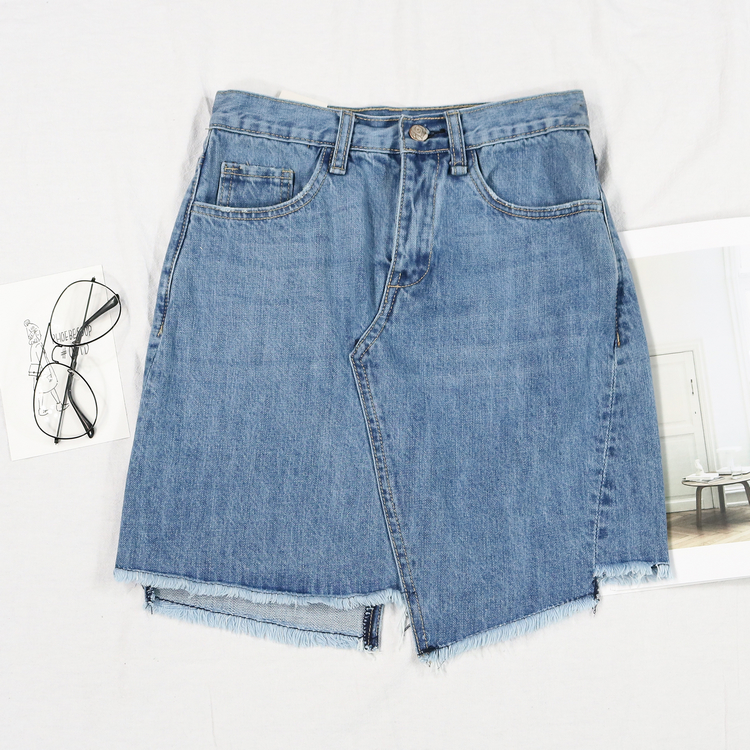 skirt Summer of 2018 XS S M L blue Short skirt Rock and roll High waist Irregular Solid color Type A 18-24 years old More than 95% Denim cotton Asymmetric pocket 201g / m ^ 2 (including) - 250G / m ^ 2 (including)
