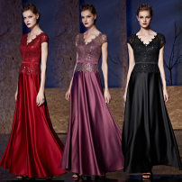 Dress / evening wear Weddings, adulthood parties, company annual meetings, daily appointments Customized XXL XS S ml XL Black violet red Retro longuette middle-waisted Spring 2017 Fall to the ground Deep collar V zipper Pure silk satin 26-35 years old Twenty-nine Short sleeve Embroidery other