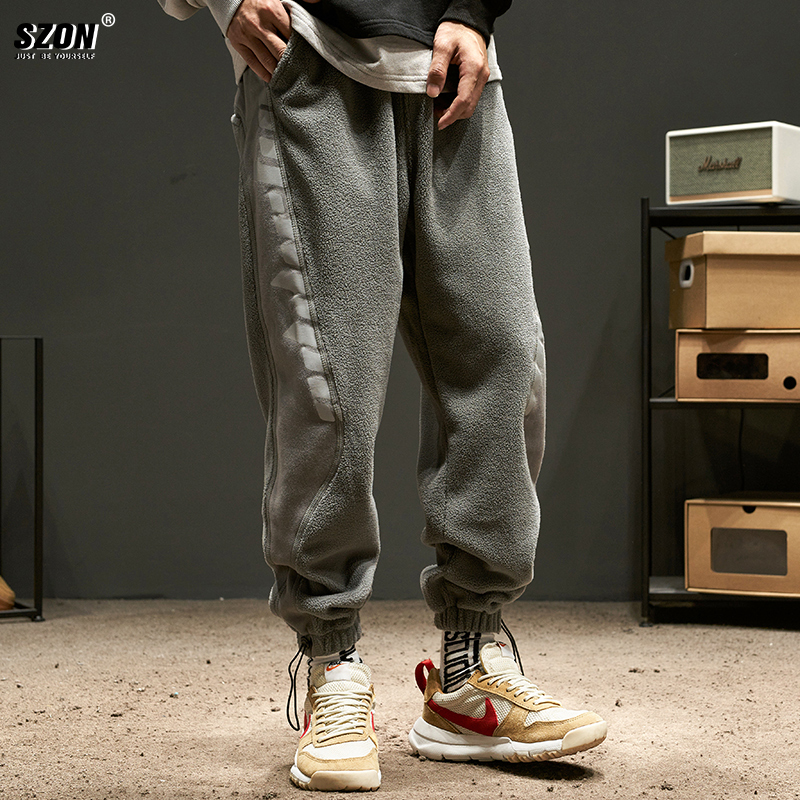 sweatpants  easy M L XL 2XL 3XL 4XL teenagers trousers Youth fashion SZON Black dark grey Other leisure winter tide Plush and thicken 2020 Nine hundred and fifty-six middle-waisted Little feet Micro bomb Alphanumeric Rib stitching Cotton 100% washing Autumn 2020 cotton Pure e-commerce (online only)