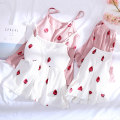 Pajamas / housewear set female Other / other S M L XL Bra [55023] Pink cotton camisole Sweet pajamas summer Thin money shorts Socket youth 2 pieces rubber string More than 95% pure cotton printing 200g