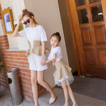 Parent child fashion white Women's dress female Other / other 100cm / 7 110cm / 9 120cm / 11 130cm / 13 145cm / 15 150cm / 17 SML eighteen thousand and nine summer leisure time Thin money Solid color skirt