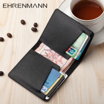 wallet Short Wallet cowhide Ehrenmann Black Brown brand new Business / OL male Exposure Solid color 80% off Horizontal style youth Large banknote Holder ID card check genuine leather ten thousand and thirty-nine top layer leather Spring / summer 2018 Pure e-commerce (online only)