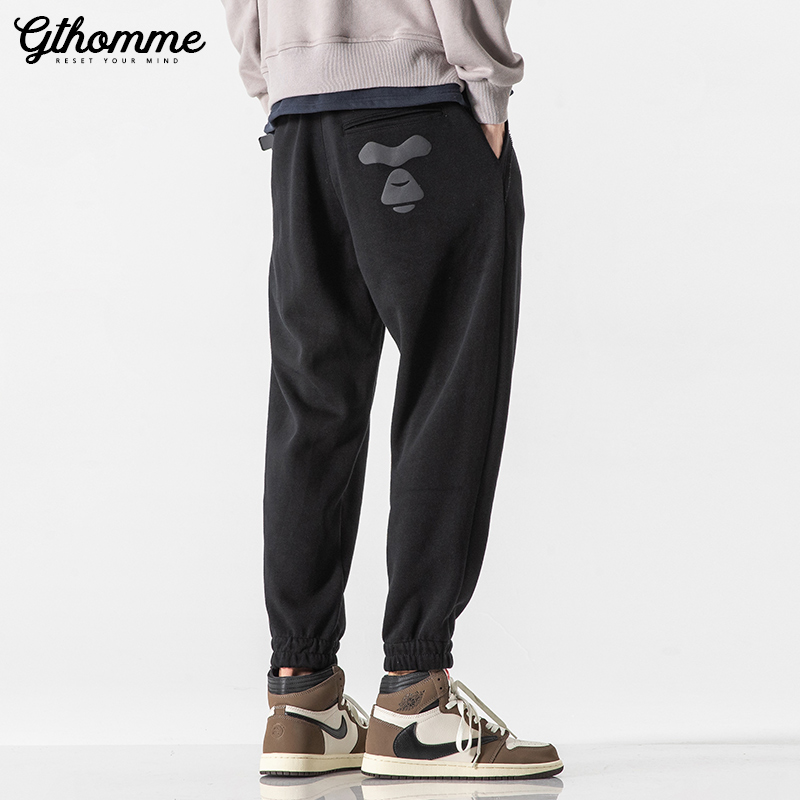 sweatpants  easy S M L XL XXL youth trousers Youth fashion gthomme Black spring and autumn thin grey spring and autumn thin black autumn winter thickened grey autumn winter thickened black winter Plush grey winter Plush Other leisure tide routine K00728 Little feet Solid color No iron treatment