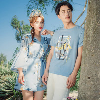 T-shirt Women's skirt pants men's women's skirt Female s female m female l female XL male m male l male XL male 2XL male 3XL Summer 2017 three quarter sleeve V-neck easy Medium length routine commute other 96% and above 18-24 years old Korean version love Letters for plants and flowers Other / other