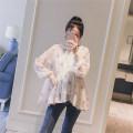 Shirt / Chiffon Long sleeves other Black apricot M L XL XXL Broken flowers Crew neck Korean version summer Chiffon XQ691