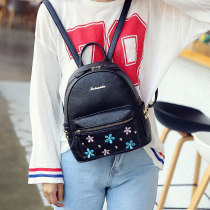 Backpack PU Tanfan (costume) Black pink light grey off white champagne brand new Small zipper leisure time Double root Japan and South Korea soft youth Soft handle Solid color nothing female Water splashing prevention Vertical square Zipper pocket, mobile phone bag, certificate bag polyester fiber no