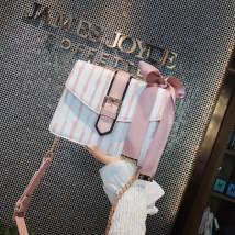 Bag The single shoulder bag PU Small square bag Snow rabbit Pink Blue Black brand new Japan and South Korea Small leisure time soft Cover type no youth