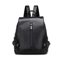 Backpack PU Snow rabbit Classic black pink light grey brand new in zipper leisure time Double root Street trend soft youth no Soft handle Solid color Yes female No waterproof other Zipper pocket ID bag polyester fiber Belt decoration no YT5710 soft surface