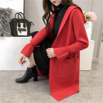 Wool knitwear S M L Fall of 2018 Red purple Khaki black Long sleeve Cardigan Long section Single conventional Commuting Loose Horn sleeve Pure color Hooded Viscose 31% (inclusive) -50% (inclusive) Korean version two thousand three hundred and nineteen 18-24 years old Pocket lace stitching