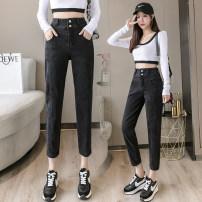 Jeans Autumn 2020 Black 8 / Black 9 / Black 8 / plush Black / 9 / Black / cashmere XXS XS S M L XL Ninth pants High waist Haren pants routine