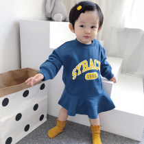 Dress Navy casual dress pink casual dress yellow casual dress wine casual dress Bella female 73cm 80cm 90cm 100cm 110cm Other 100% spring and autumn leisure time Long sleeves fzlyq07231529 other