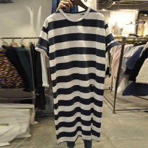 Dress Summer of 2018 navy blue S M L XL Mid length dress singleton  Short sleeve commute Crew neck middle-waisted stripe Socket other routine Others 18-24 years old Type H Korean version Color fixing with stitching resin KF3439DM 30% and below other other