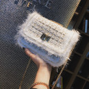 Bag The single shoulder bag Woollen cloth Small square bag Wei Wei BEIGE BLACK brand new Japan and South Korea Small leisure time hard Cover type no