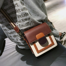 Bag The single shoulder bag PU Small square bag Wei Wei Beige brown blue brand new Japan and South Korea Small leisure time soft Magnetic buckle no Solid color Single root One shoulder cross nothing youth Vertical square rivet polyester fiber mobile phone bag soft surface