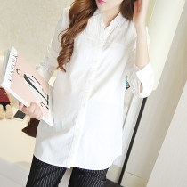 Shirt / Chiffon Long sleeves Alayi Short sleeve (white) M L XL XXL Solid color Lapel Versatile spring and autumn Pure cotton (95% and above) five hundred and sixty-eight million nine hundred and seventy-six thousand and fourteen