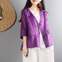 short coat Summer of 2018 Average code White red purple Navy Seven sleeves Short paragraph Thin section Single Straight conventional Commuting V collar A buckle Pure color 25-29 years old 51% (inclusive) -70% (inclusive) hemp hemp