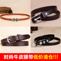 Belt / belt / chain top layer leather female belt literature Single loop Middle aged youth a hook Flower design Embossing 1.4cm alloy Ginned flowers Baieku B26139