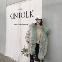leather and fur Winter of 2018 Other / other Matcha green S M L Medium length Long sleeves commute Hood Bat sleeve Three buttons Korean version fifty-eight million seven hundred and forty-four thousand one hundred and fifty-five Make old