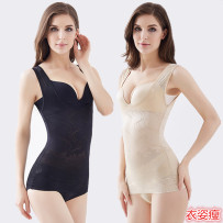 Body shaping top Black complexion Peilishu XS S M L XL XXL ultrathin Sleeveless To the buttocks Solid color nylon summer Netting Simplicity printing