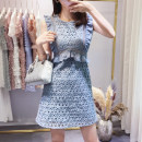 Dress Summer of 2018 Pink white blue S M L Mid length dress singleton  Sleeveless commute Crew neck High waist Solid color zipper A-line skirt other Others 25-29 years old Type A Korean version 81% (inclusive) - 90% (inclusive) other