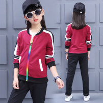 suit Suplusin / supujin Wine red rose red 110cm120cm130cm140cm150cm160cm female spring and autumn motion Long sleeve + pants 2 pieces routine nothing