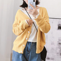 Wool knitwear One size fits all Fall of 2018 Yellow - scheduled yellow Long sleeve Cardigan Conventional models Single Thin section Commuting Straight