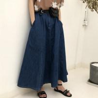skirt Summer of 2018 S M L Retro dark blue stock* Mid length dress commute High waist Umbrella skirt Solid color 18-24 years old 81% (inclusive) - 90% (inclusive) Denim cotton Korean version