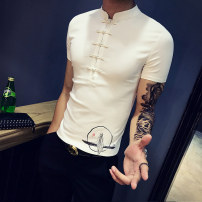 T-shirt Fashion City White grey black routine M L XL 2XL 3XL Others Short sleeve stand collar Self cultivation daily summer Cotton 62% polyamide fiber (nylon) 35% polyurethane elastic fiber (spandex) 3% youth routine tide other 2018 Ethnic style Button decoration cotton Chinese culture