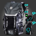 Backpack polyester fiber Yani mengnu brand new large Drawstring buckle travel Double root European and American fashion soft youth yes Telescopic handle Solid color Yes male Water splashing prevention Vertical square polyester fiber Sewing yes 15 inches One hundred and two Inner patch pocket 31*15*52