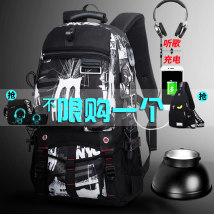 Backpack polyester fiber Yani mengnu brand new large zipper leisure time Double root Japan and South Korea soft youth yes Soft handle Solid color Yes male Water splashing prevention Vertical square Net bag zipper hidden bag mobile phone bag certificate bag sandwich zipper bag polyester fiber yes